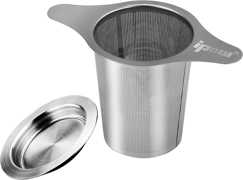 [Versión Mejorada] Ipow Filtro para Té de Acero Inoxidable 304 con Dos Asas, Infusor para té para Tazas de Té, Tétera