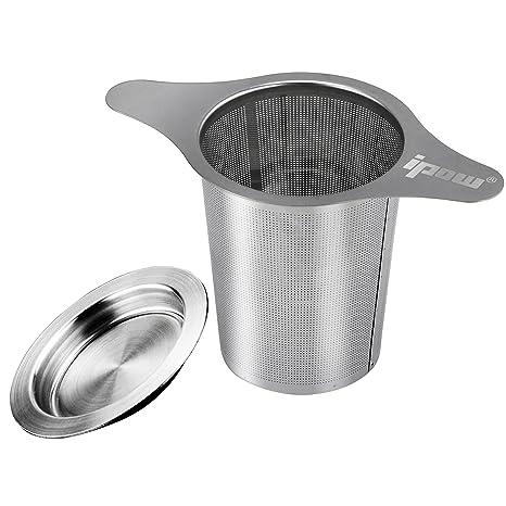 [Versión Mejorada]IPOW Filtro para Té de Acero Inoxidable 304 con Dos Asas, Infusor para té para Tazas de Té, Tétera