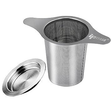 [Versión Mejorada]Ipow Filtro para Té de Acero Inoxidable 304 con Dos Asas, Colador para Té para Tazas de Té,Tétera