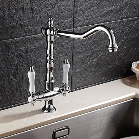 Victorian Style Kitchen Sink Mixer Tap Double Handle Antique Brushed ...
