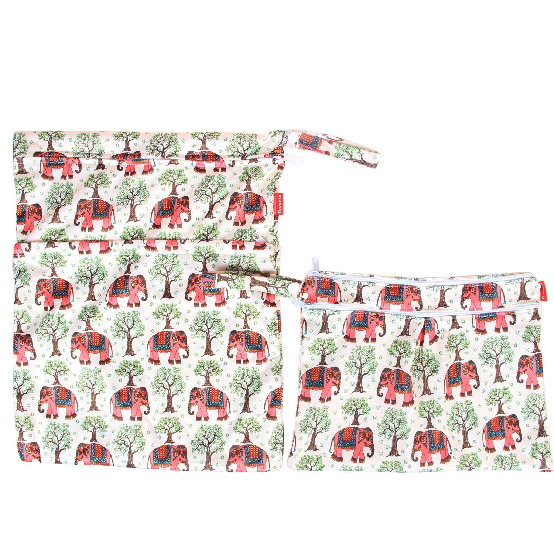 Damero 2pcs Pack Travel Baby Wet and Dry Cloth Diaper Organiser Bag Colorful Chevron