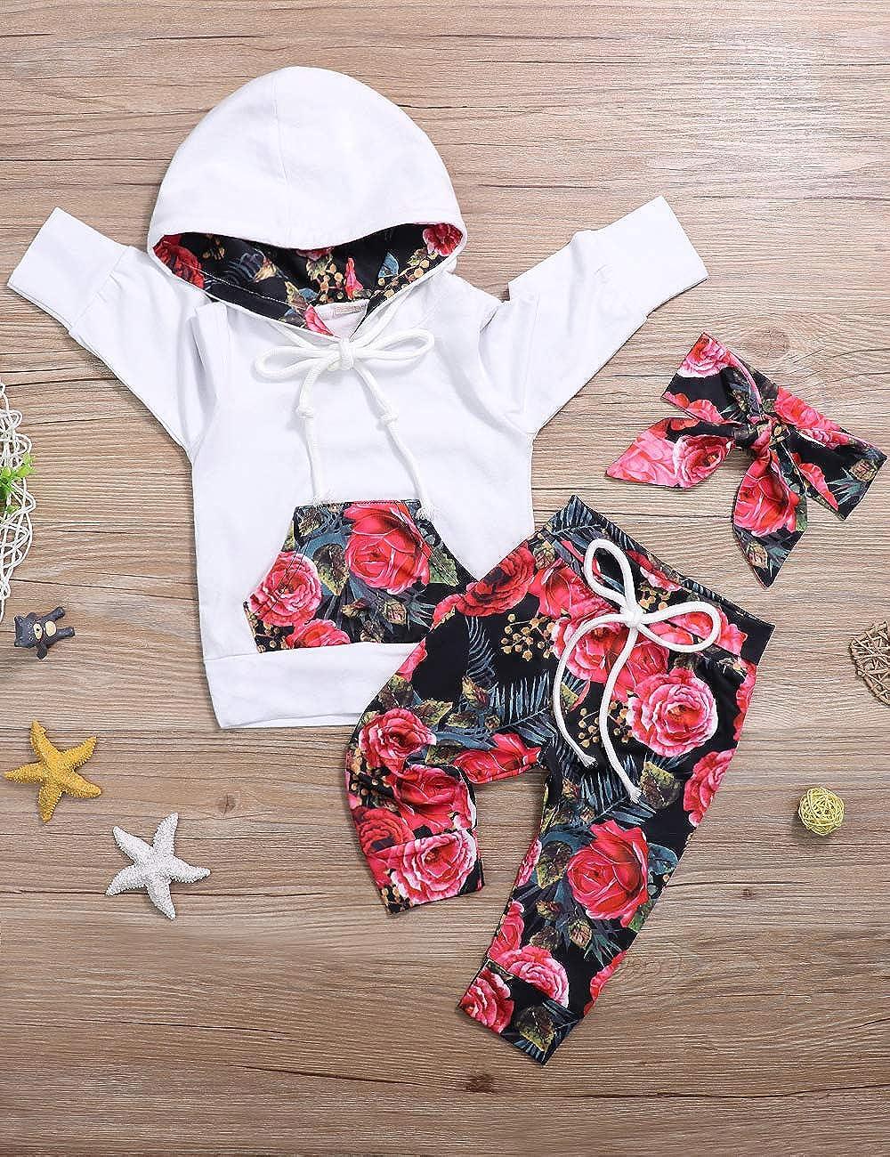 Ttkgyoe Sweat-Shirt /à Manches Longues /à Capuche Floral pour b/éb/é Fille avec Un Pantalon /à Poche Kangourou