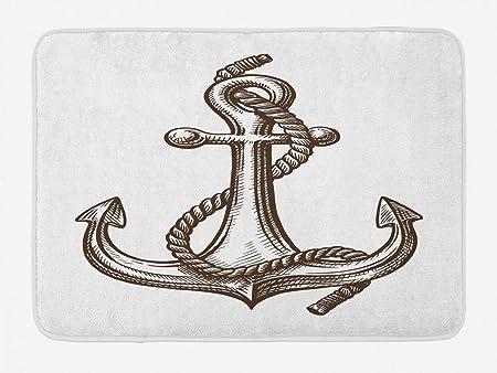 Alfombrilla de baño náutica con tatuaje vintage, grabado patrón de ...