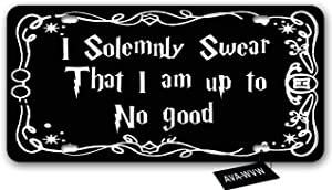 AVA-WVW License Plate | I Solemnly Swear That I am Up to No Good | Funny Novelty Vanity Front License Plate Frame Cover | Decorative Metal Car Plate Sign Auto Tag Aluminum Plate 6 X 12 Inch (4 Holes)