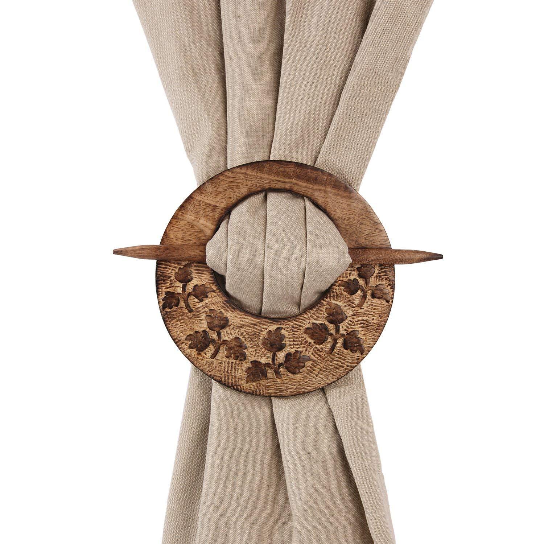 Wooden Hand Carved Curtain Tiebacks Holdbacks for Draperies Set of 2 Window Treatment Drape Binds Home Office Decor - Aheli