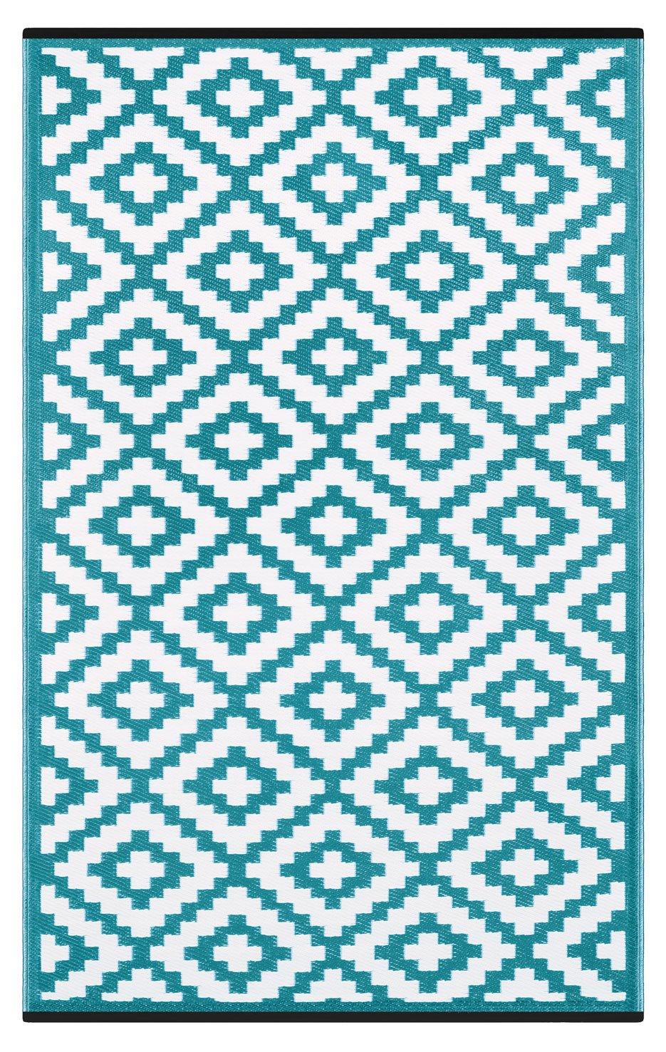 Grün Deko-Outdoor wendbar Nirvana Teppich, Teal Blau Weiß, 180 x 270 cm