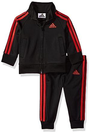 8dd6955e3dad Amazon.com  Adidas Boys  Sport Tricot Jogger Set (Black Red Rib, 7X ...