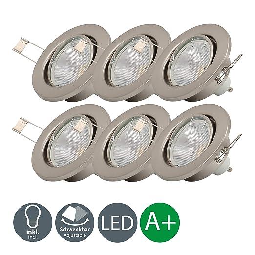 6 x 5 W LED Focos empotrables giratorio Ø 86 mm GU10, 230 V,