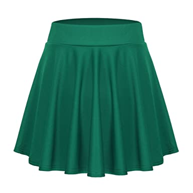 85f71a4585f3d9 ACEVOG Women's Stretch Waist Flared Skater Skirt Dress Mini Skirt,Dark  Green,Medium