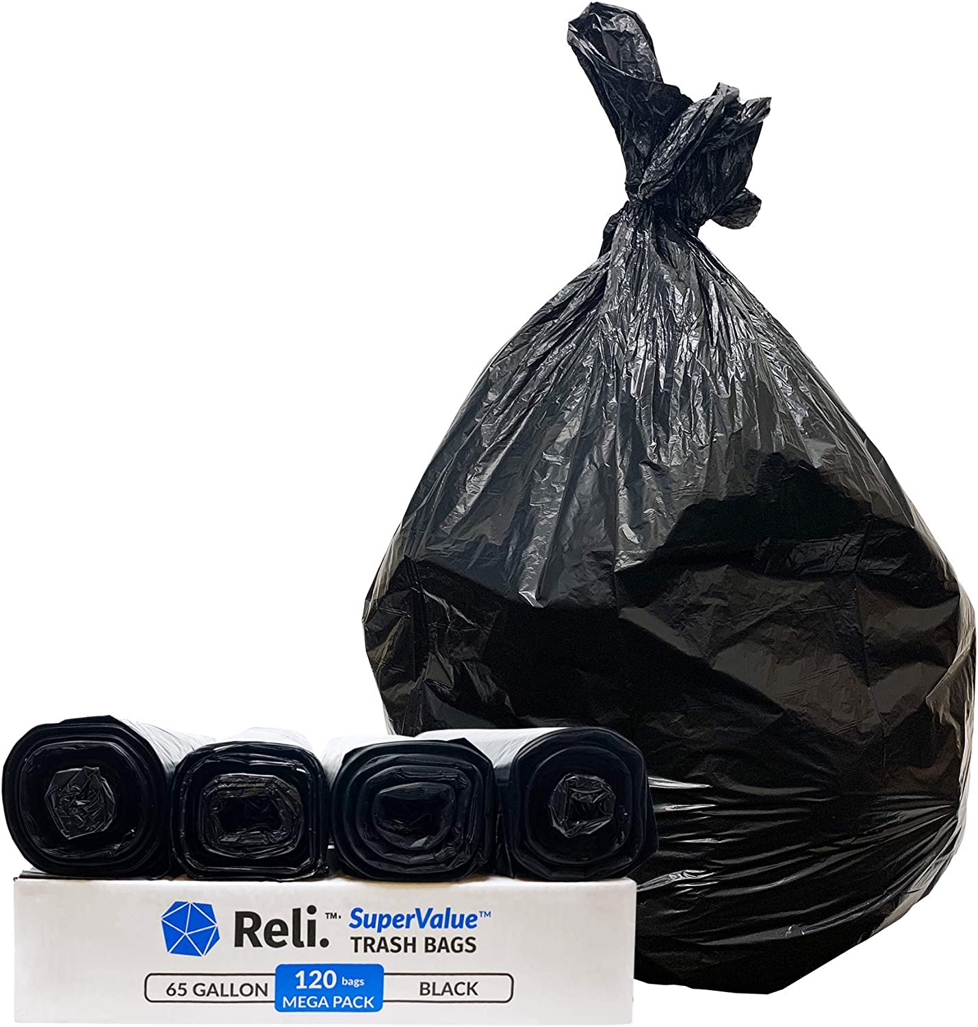 Made in USA Details about  /Reli Clear 120 Count, Bulk SuperValue 65 Gallon Trash Bags