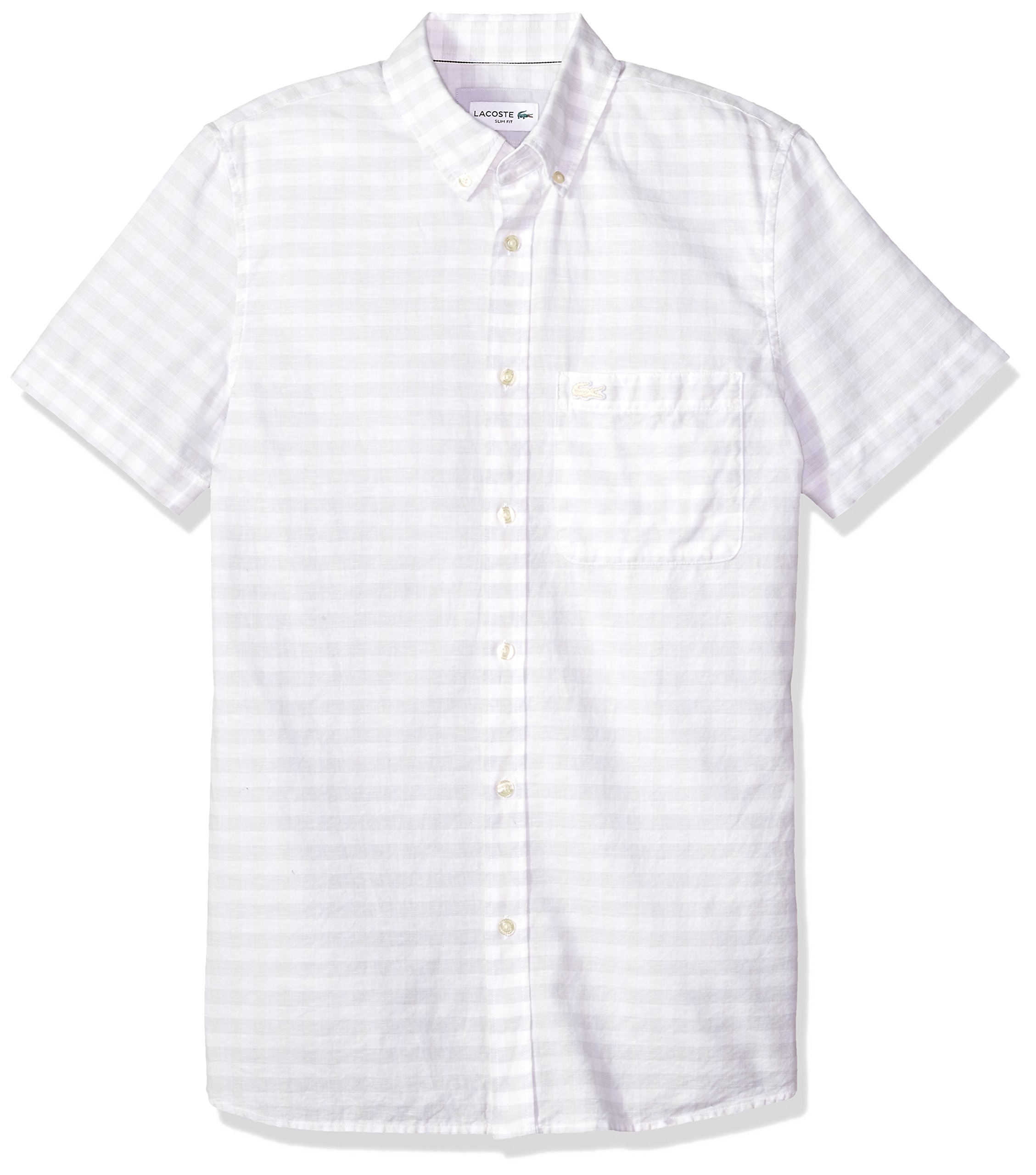 Lacoste Men's Short Sleeve Cotten/Linen Checked Button Down Collar Slim Woven Shirt, Ch5008, French Vanilla Cream, 44