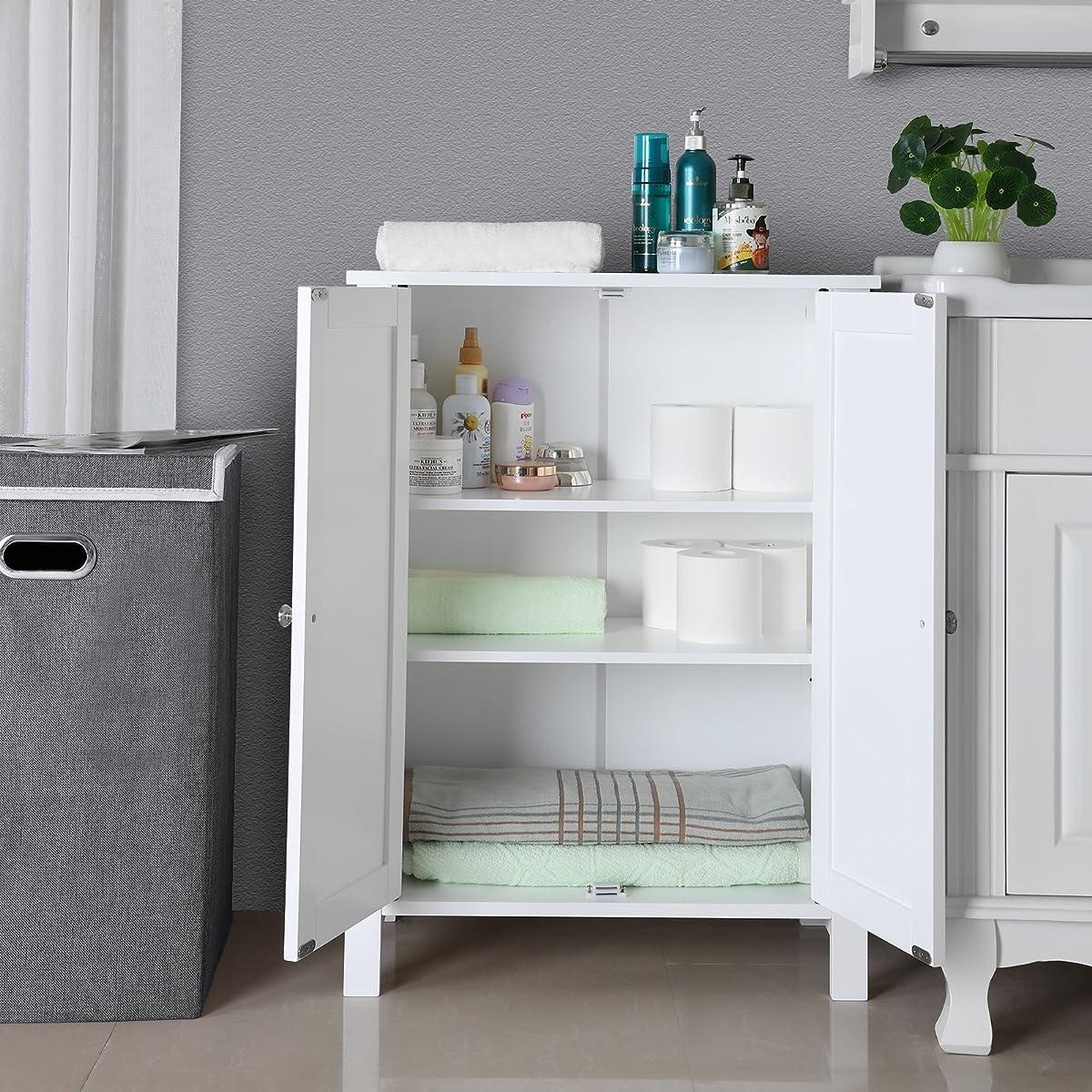 SONGMICS Bathroom Floor Storage Cabinet with Double Door Adjustable Shelf White UBCB60W