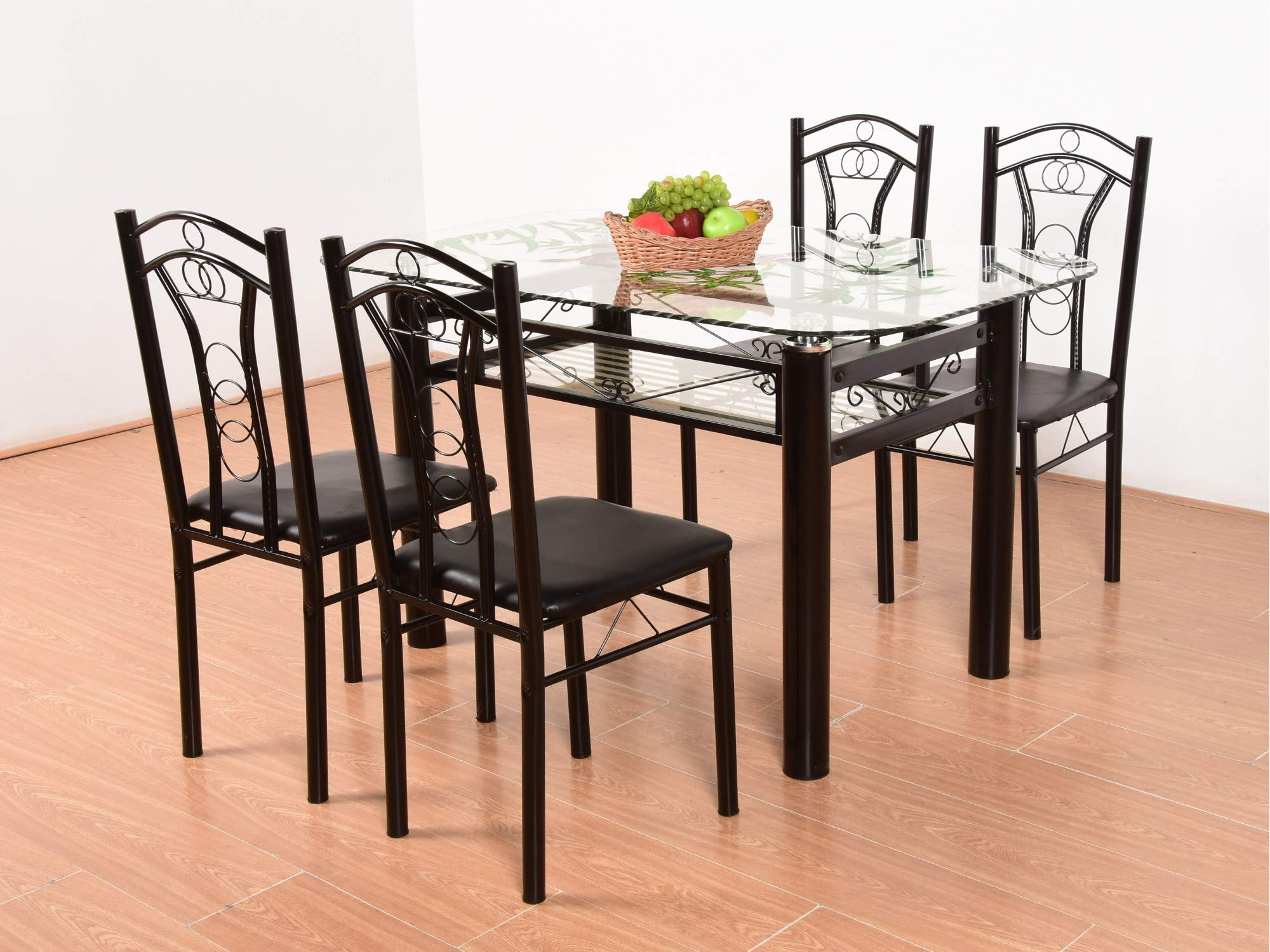 T2a Furniture Neoplex Glass Top Metal Base 4 Seater Dining Table Black Buy Online In Mongolia At Mongolia Desertcart Com Productid 142354929