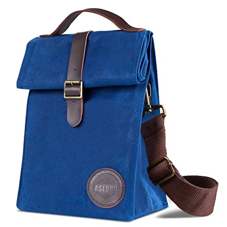 2e39379a Amazon.com: Insulated Waxed Canvas Lunch Bag by Asebbo | Lunch box ...