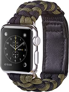 XUANTAI Apple Watch Band 42mm S/M Fashion Handmade 550 Paracord Bracelet Replacement Women iWatch Bands Strap for Apple Watch Series 5 4 3 2 1, Black/Green