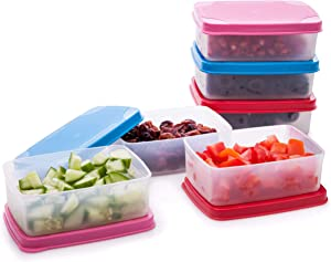 Reusable Plastic Food Storage Containers – Stackable Airtight Food Containers for Snacks, Picnics, Food Prep, Picnics and more – Set of 6 in Various Sizes – Dishwasher, Microwave and Freezer Safe 5oz