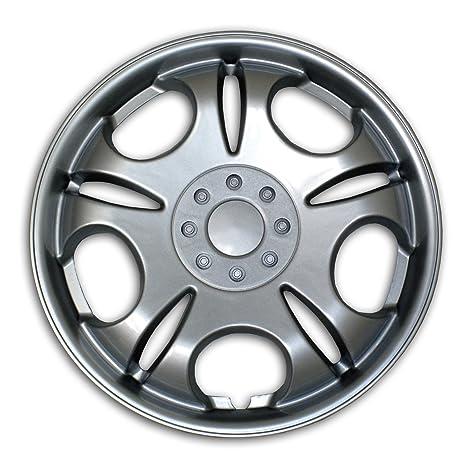 tuningpros WSC2 – 032s15 Tapacubos rueda piel funda tipo 2 pulgadas plata conjunto ...