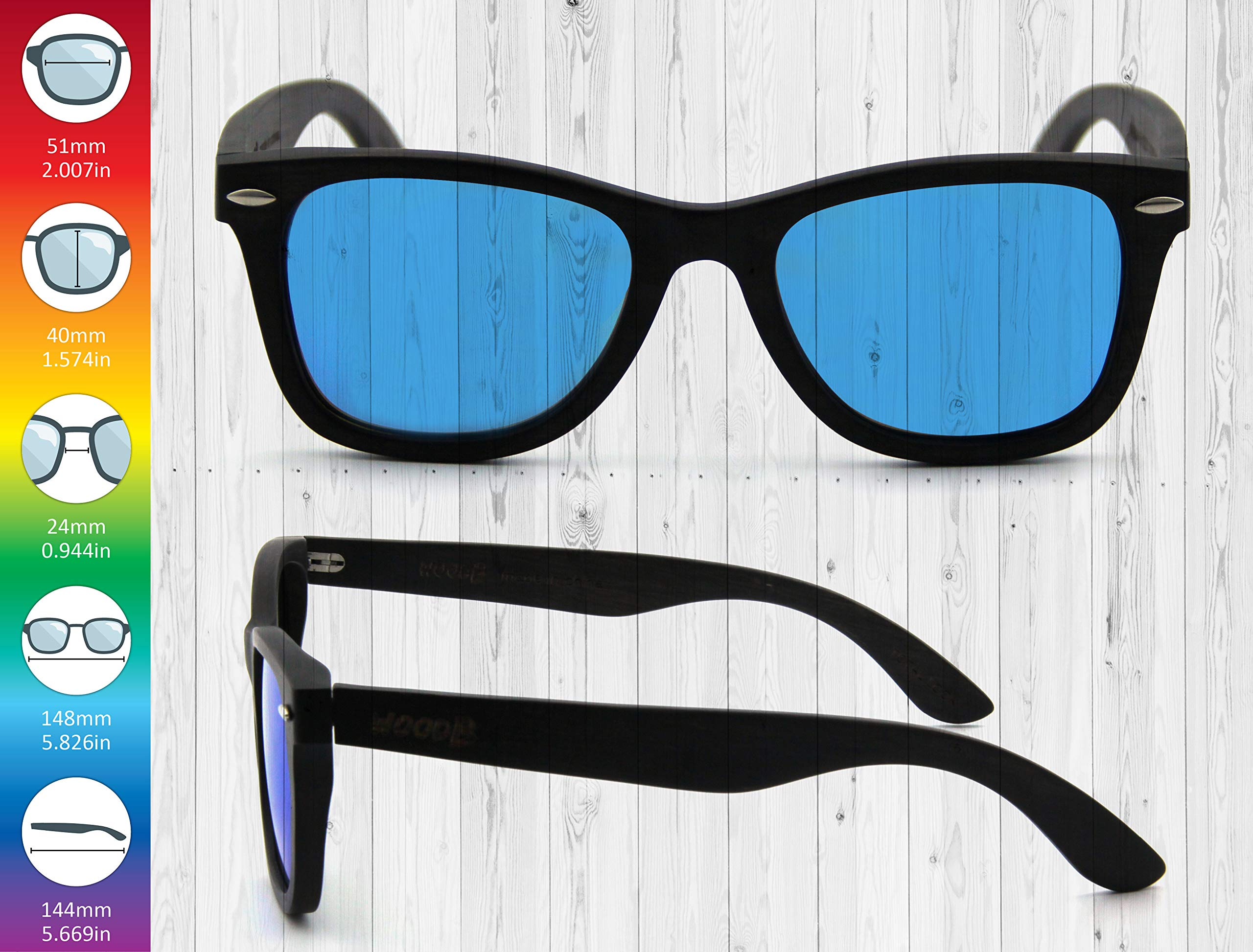 Real Wood Sunglasses Wayfarer UV-400 Polarized Lenses Plus Cap in Gift box by WOODB (Image #4)