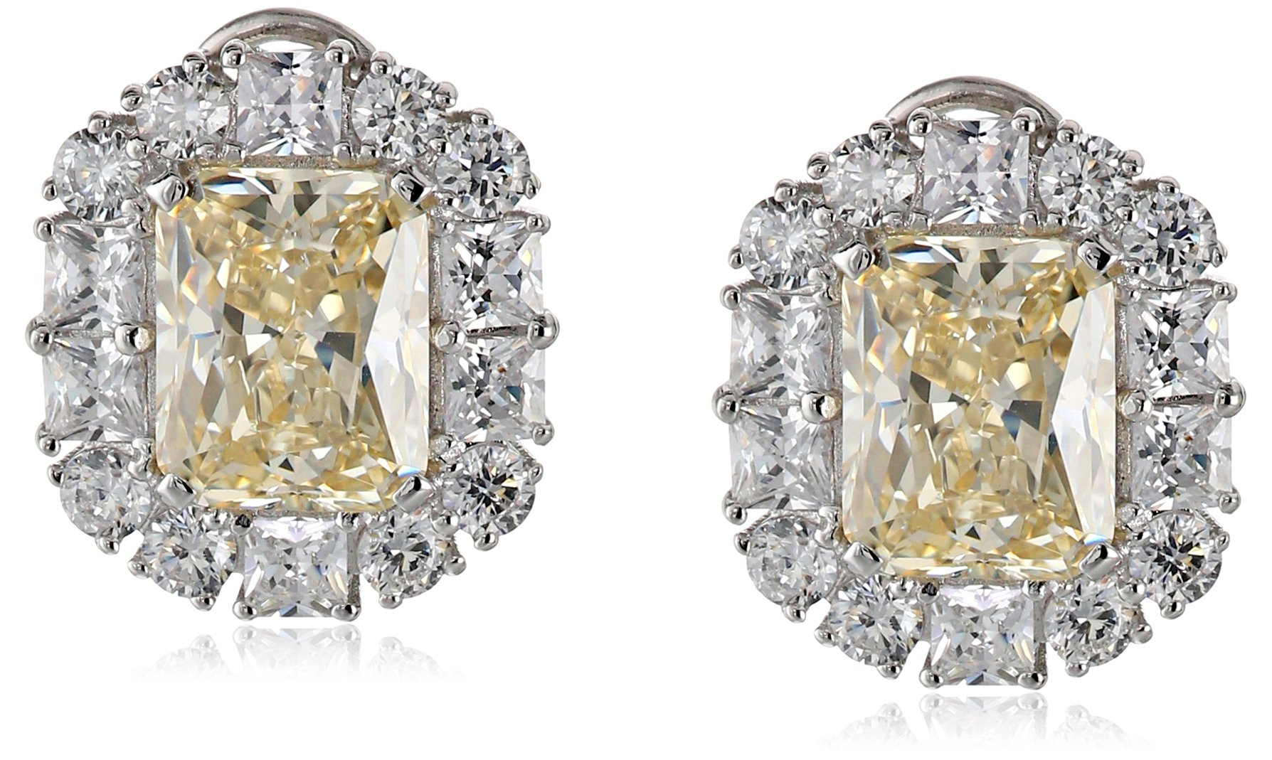 Charles Winston, S Silver, Yellow & White Cubic Zirconia, Elegant  Earrings, 7.50 ct. tw.