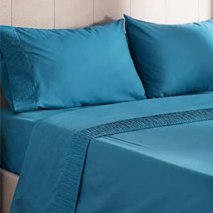Bedsure Bed Sheet Set - Teal Queen Bed Sheets - Soft Brushed Microfiber, Wrinkle Resistant Bedding Set - 1 Fitted Sheet, 1 Flat Sheet, 2 Pillowcases (Queen, Teal)