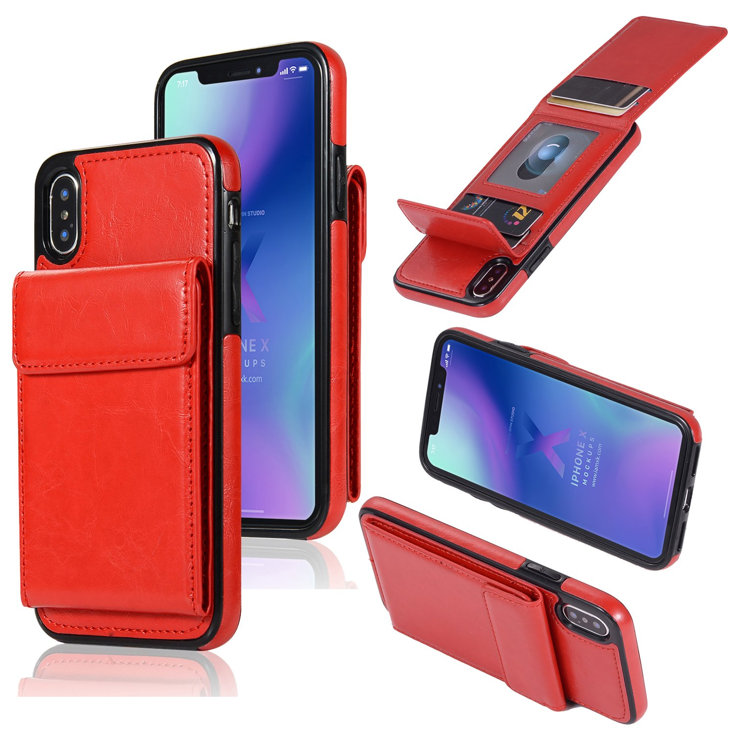 DAMONDY Wallet Case for iPhone X,iPhone Xs Case,Luxury Wallet Purse Card Holders Design Cover Soft Shockproof Bumper Folio Flip Leather Kickstand Case for iPhone X XS 5.8-red by DAMONDY