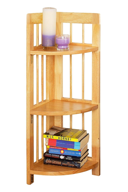 Premier Housewares Eckregal aus Gummibaumholz 3 Ebenen zusammenklappbar 97x30x30 cm