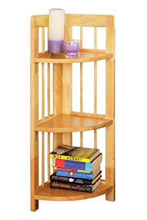 premier housewares 3tier rubberwood folding corner shelf unit 97 x 30 x 30