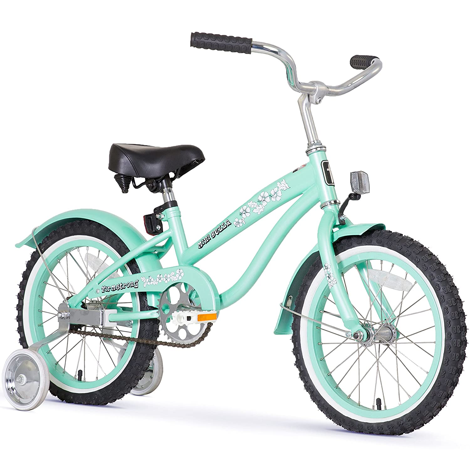 Firmstrong Girls Bella Bicycle with Training Wheels, Mint Green