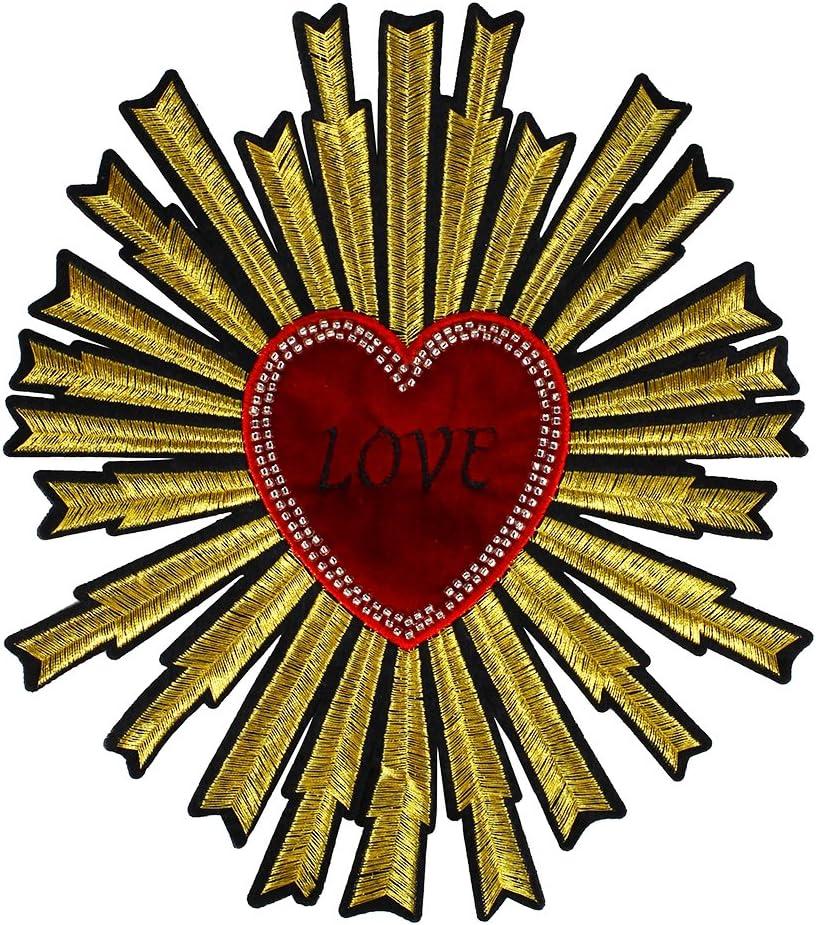 1 pieza de cuentas diseño de corazón oro rojo tela parches ...