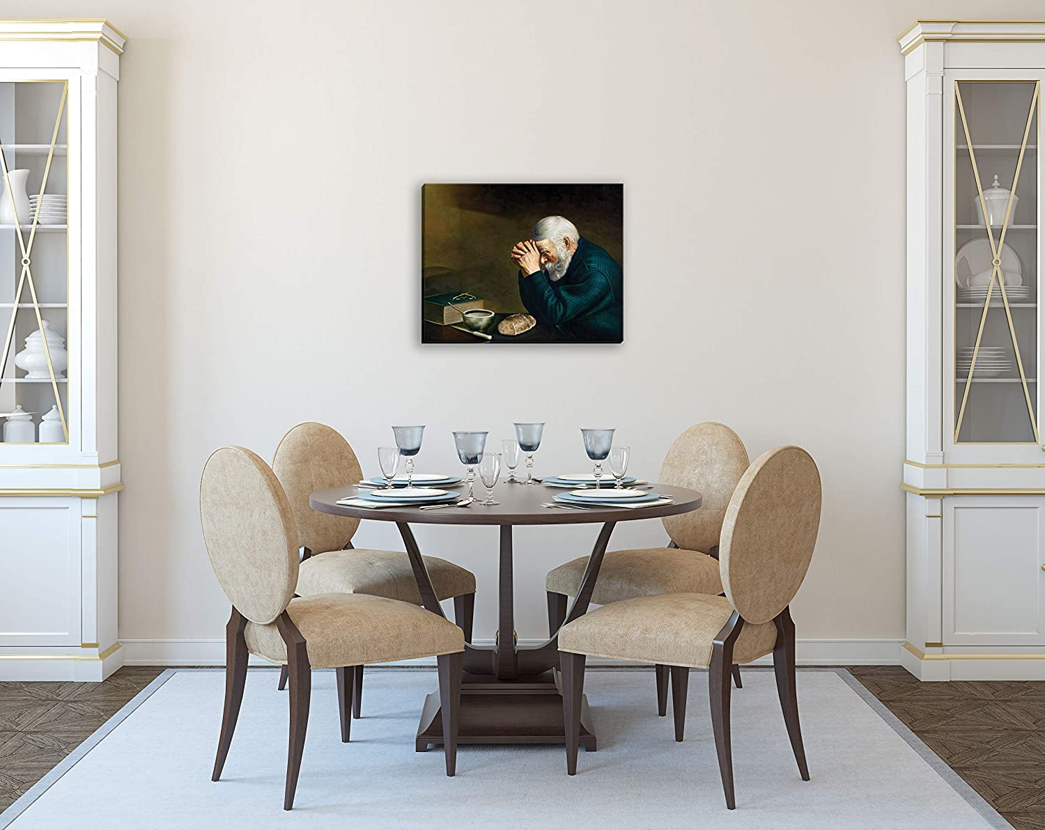 Gango Home Décor Daily Bread Man Praying at Dinner Table Grace Religious 20x16in Hand Stretched Canvas-Ready to Hang!