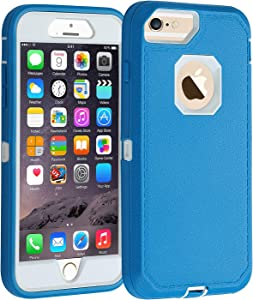 Co-Goldguard Case for iPhone 6s Plus/6 Plus,Heavy Duty [No Screen Protector] 3 in 1 Cover with Screen Bumper Shell for iPhone 6+/6s+ 5.5 inch,Blue/White