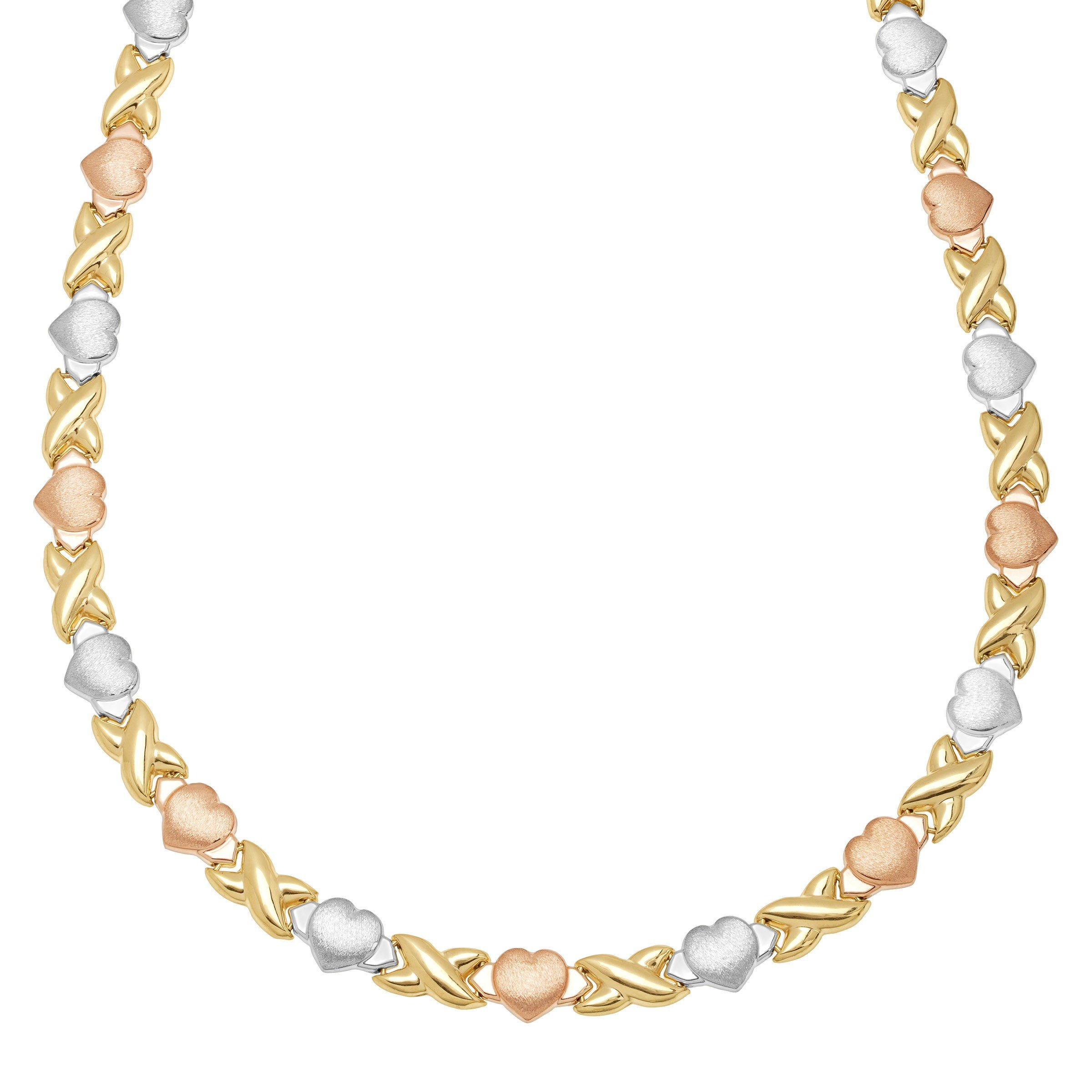 'Xo' Link Necklace in 18K Three-Tone Gold-Plated Sterling Silver