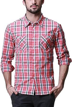 Matchstick Camisa de Cuadros Manga Larga para Hombres #G2305 ...