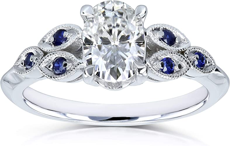 Kobelli 1ct Tgw Vintage Oval Cut Moissanite Gh Engagement Ring With Sapphire Accents In 14k White Gold Amazon Com