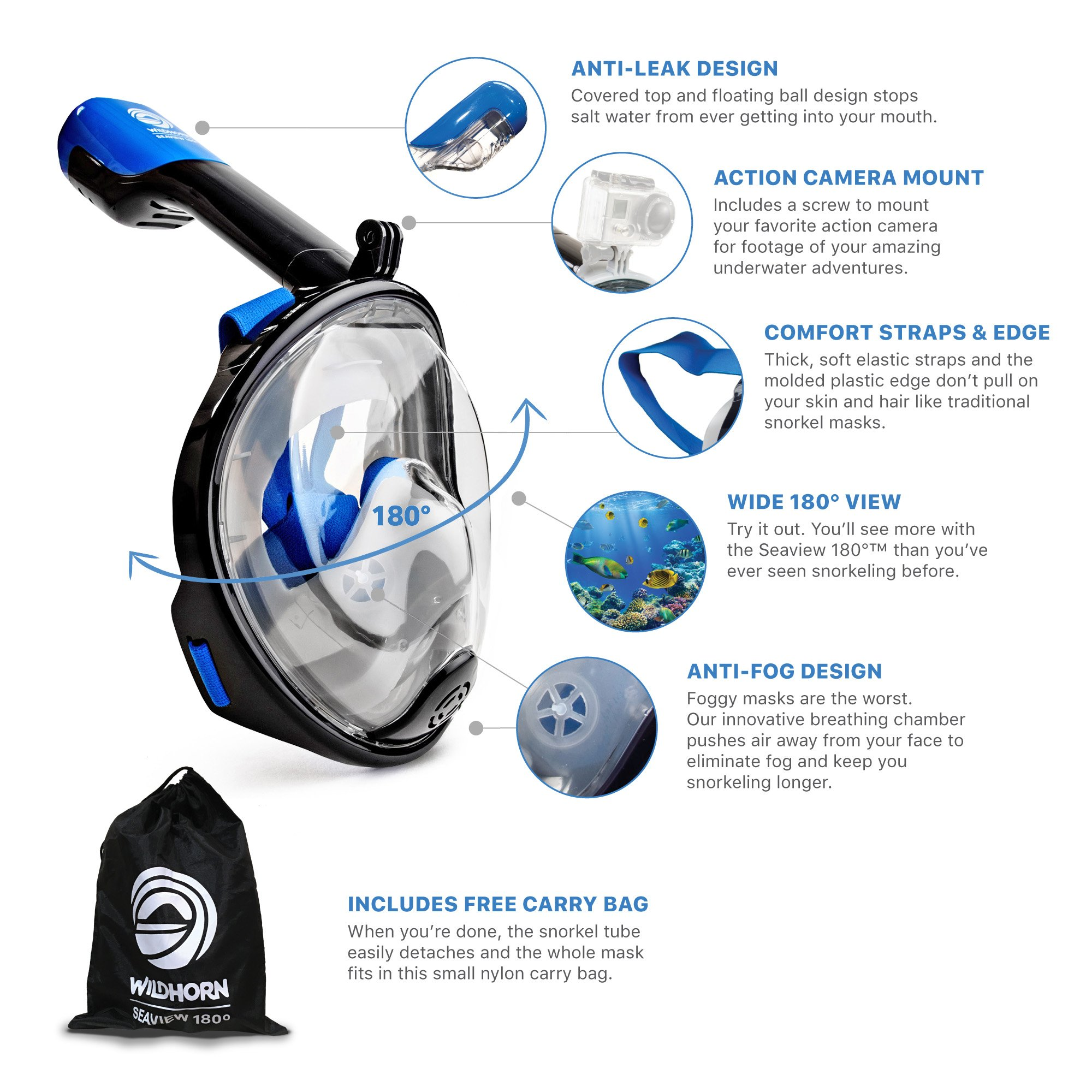 Seaview 180° GoPro Compatible Snorkel Mask- Panoramic Full Face Design. See More With Larger Viewing Area Than Traditional Masks. Prevents Gag Reflex with Tubeless Design (Navy, XS) by WildHorn Outfitters (Image #3)