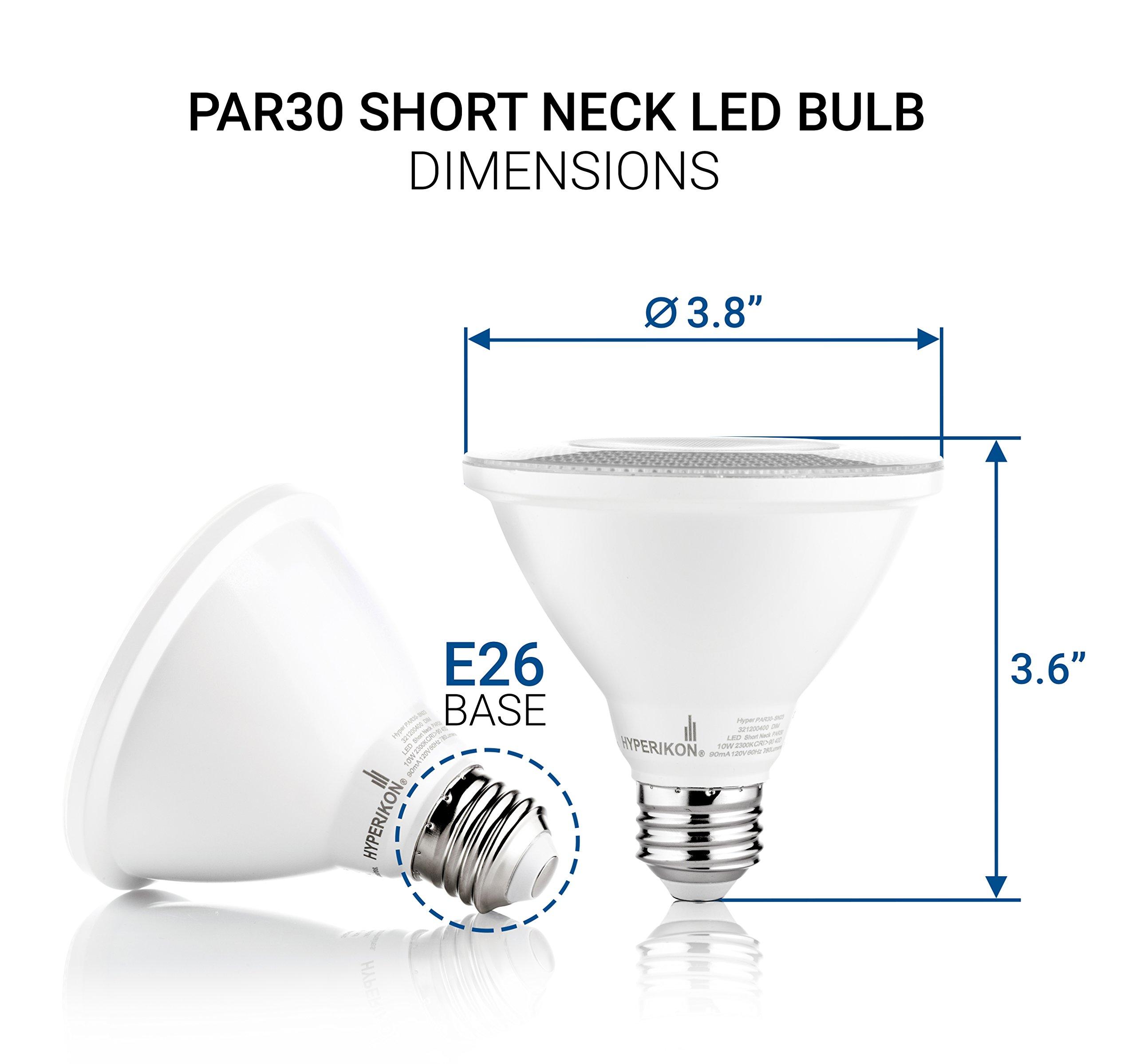 Hyperikon PAR30 Short Neck LED Bulb, Dimmable, 10W (65W Equivalent), 4000K (Daylight Glow) 840 lm, CRI 90+, Flood Bulb, Medium Base (E26), UL & Energy Star - Great for Work Areas, Kitchen (6 Pack) by Hyperikon (Image #6)
