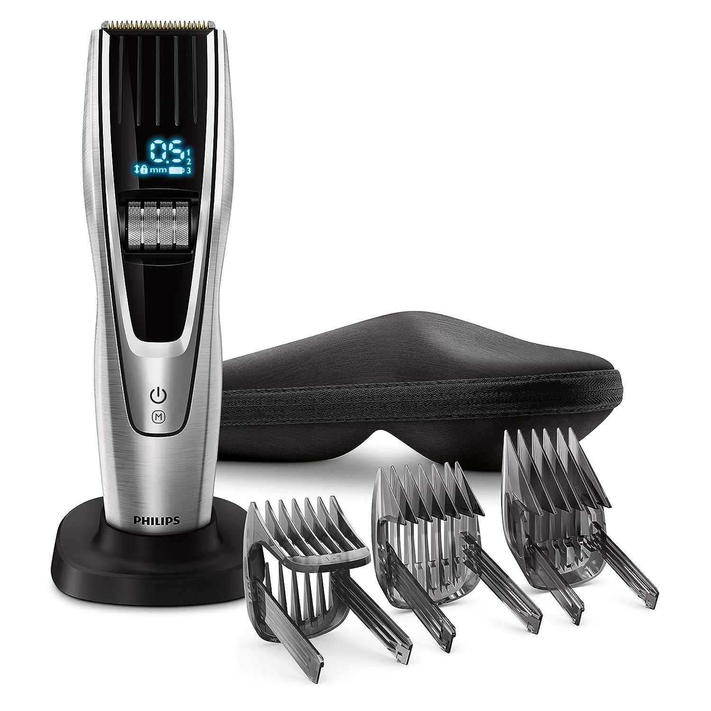Philips HC9450/20 - Cortapelos con cuchillas de titanio,3 peines-guía motorizados, con interfaz de cambio digital, soporte de carga y funda, negro