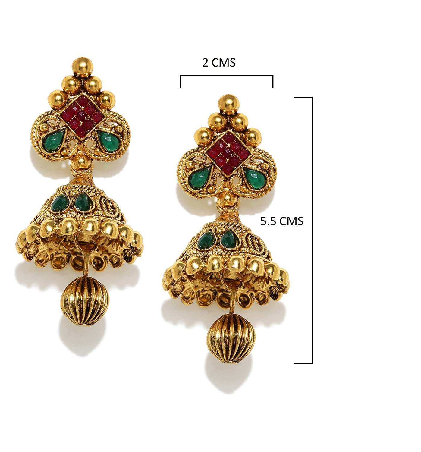 Buy Zaveri Pearls Jhumki Earrings for Women (Golden)(ZPFK5037 ...