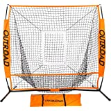 Outroad Baseball Nets Batting & Pitching 5 x 5/7 x 7 - Portable Practice Net w/Bow Frame &Strike Zone Target