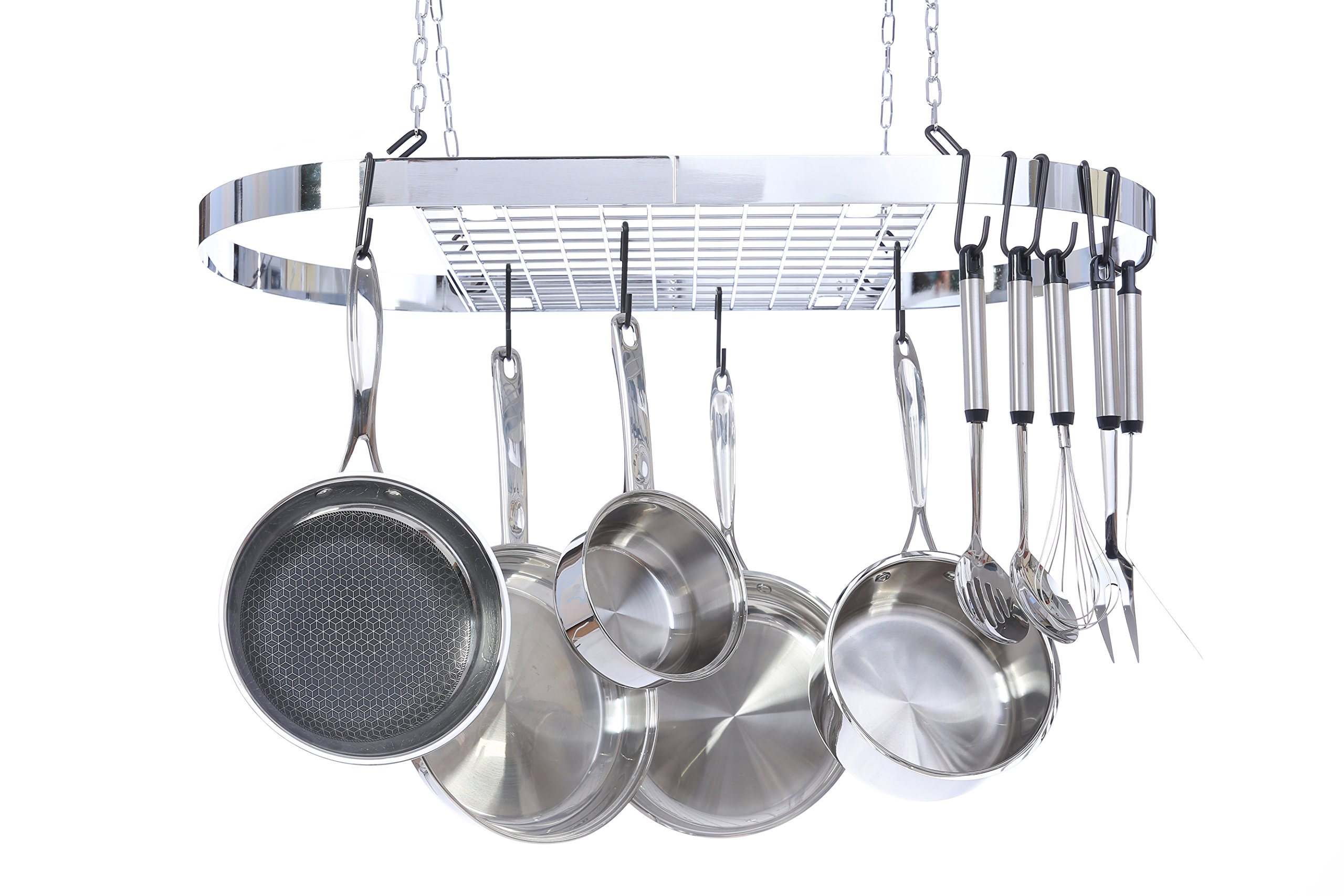 Kinetic Pot and Pan Rack with Ceiling Hooks - Premium Oval Mounted Oragnizer Rack with Multi Purpose Kitchen Organization and Storage for Home, Restaurant, Cookware, Utensils (Hanging Chrome) by Kinetic