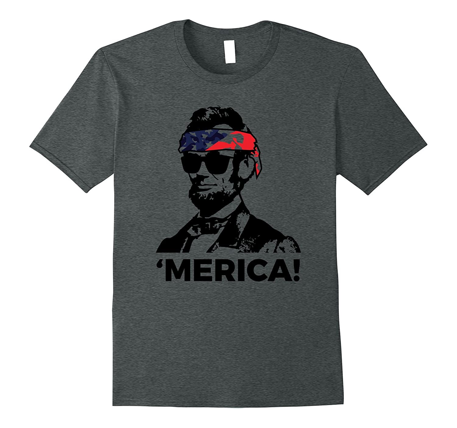 America Lincoln Fourth July Bandana T-Shirt-PL