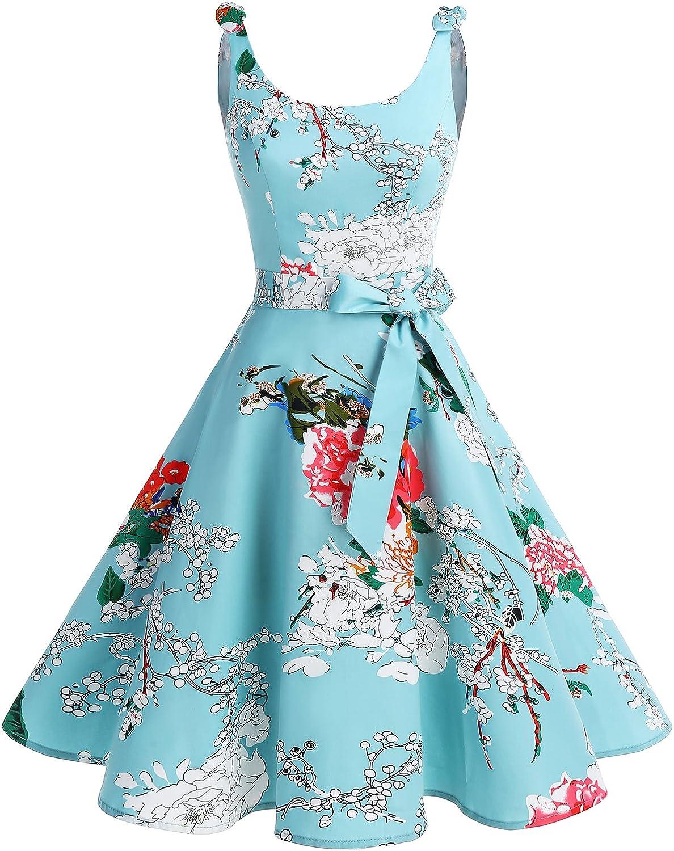 TALLA M. Bbonlinedress Vestidos de 1950 Estampado Vintage Retro Cóctel Rockabilly con Lazo Green Flower M