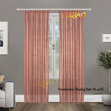 LQIAO Rose Gold Sequin Curtain Rod Panels Shimmer Background Backdrop Photography Sparkly For Living