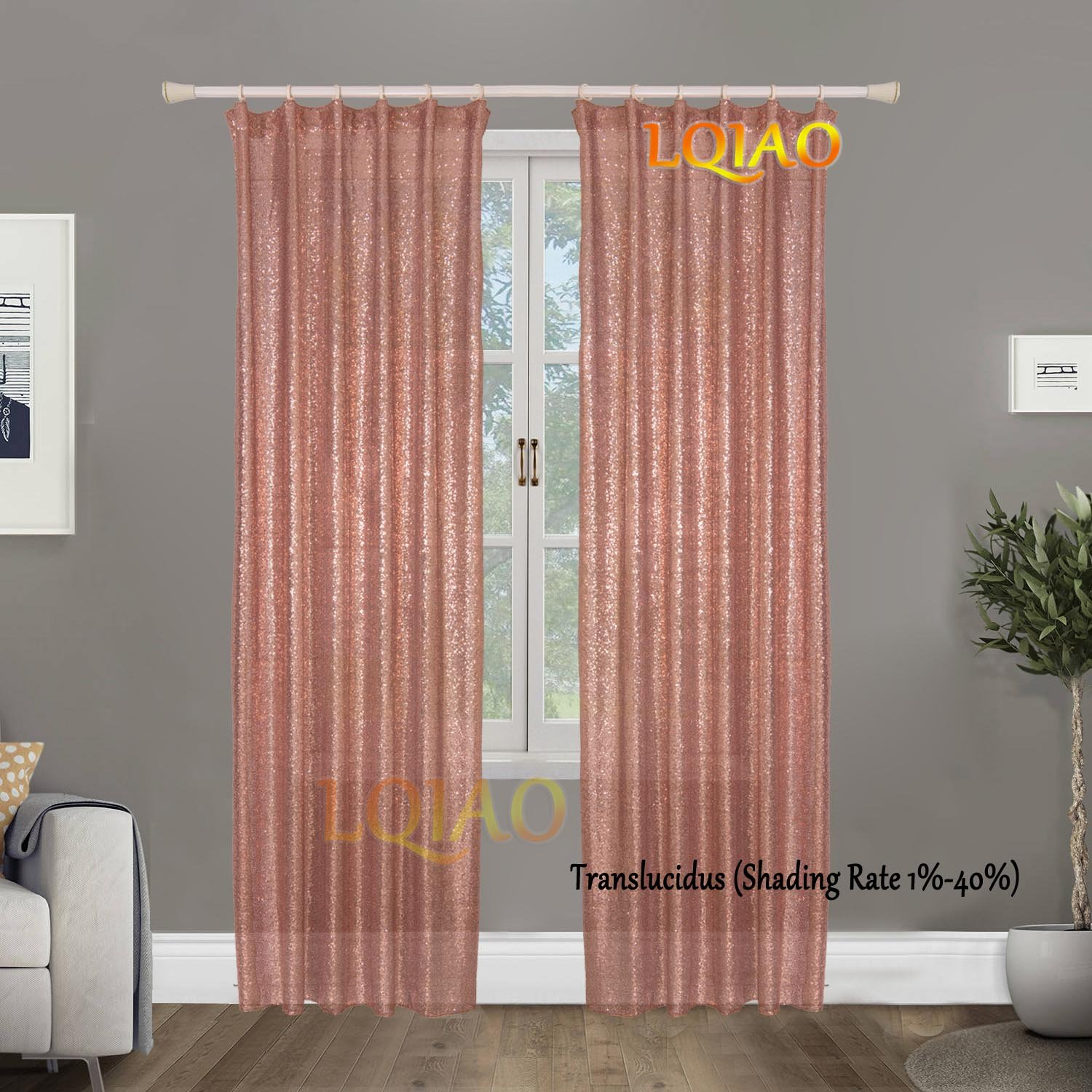 LQIAO Luxurious Metalic Rose Gold Sequin Curtains 240x250cm Sparkly Rose Gold Fabric Window Curtain Panel,little see through, 96x100 inches,More Colors Options Hooks Possible