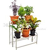 D&V Engineering Metal 2-Step, 6 Planter Indoor/Outdoor Flower Pot Stand, Plant Stand, Kitchen Shelf Stand for Home Decor, Office, Garden, Balcony Decor (White, 6 Pot Step Type)