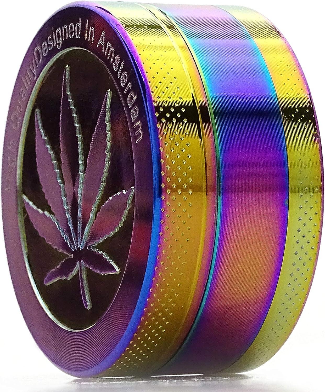 SweedZ Grinder Rainbow mit Hanfblatt