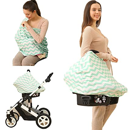 Kiddo Care Nursing Cover Infinity Bufanda de enfermería para la lactancia (Green White Chevron)