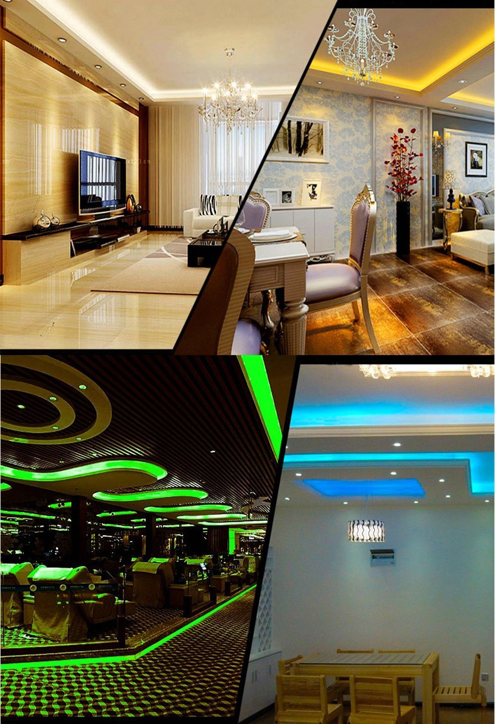 LED Light Strip Kit, Targher RGB LED Strip Waterproof SMD 5050 RGB 16.4Ft/5M 300 LEDs with 44Key Remote Controller and Power Supply for Holiday Party Outdoor Decoration by Targher (Image #5)