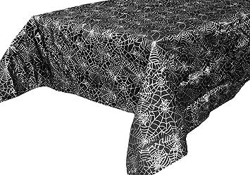 Spider Web Black U0026 Silver Metallic Halloween Fabric Tablecloth   55u0026quot;  ...