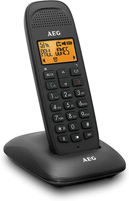 AEG Voxtel D81 - Teléfono inalámbrico DECT con Altavoz, Negro: Amazon.es: Electrónica